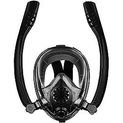 Masque de Plongée, Masque Snorkeling Plein Visage 180° Visible avec Double Tuba Antibuée Anti-Fuite avec la Support pour Caméra de Sport GoPro, Adapté pour Enfants et Adultes