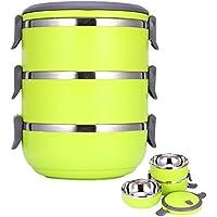 Fiambrera apilable Contenedor interior de acero inoxidable con mango depósito comida bento box 3 capas (Verde)
