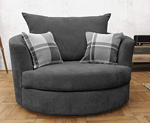 Large Swivel Round Cuddle Chair Fabric Grey Amazon Co