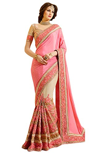 Try n Get\'s Peach and Cream Color Embellished Satin Chiffon and Net Fancy Designer Saree