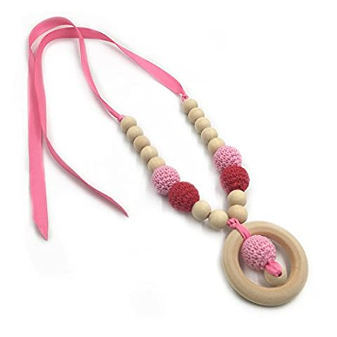 Coskiss Crochet Beads Baby Teether Collier Beads Safe Dentile Collier Avec Organic Natural Wood Toy Mom Kids Ensemble De Teether De Bois (Rose vif)