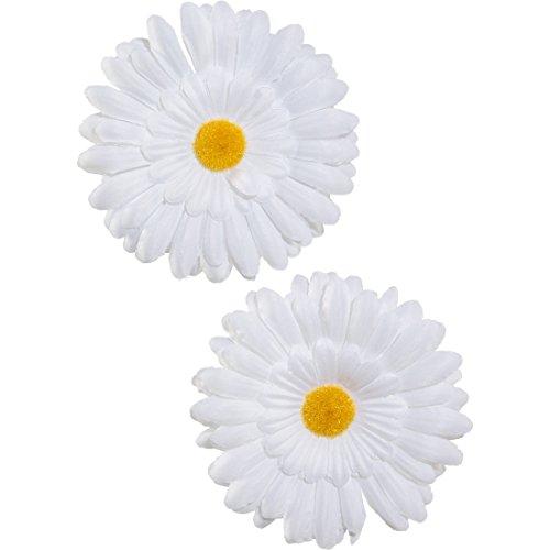 Amakando Hippie Ansteckblumen Flower Power Blumen Clips 2er Set 70er Jahre Blumenanstecker Margeriten Haarblumen Karnevalskostüme Accessoires Mottoparty Blumen Kopfschmuck Gänseblümchen - Tanz Kostüm Haarschmuck