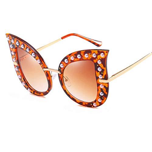 Yuanz Nieten Cat Eye Sonnenbrille Frauen Perle Damen Übergroße Acetat Rahmen Sonnenbrille Uv400,C2