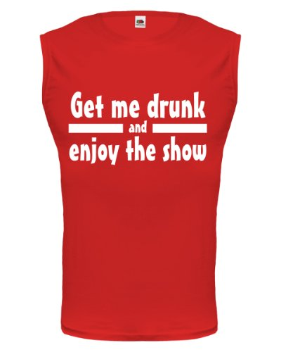 buXsbaum® Tank Top Get me drunk and enjoy the show Red-White