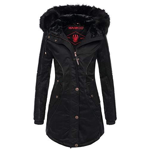 Marikoo Designer Damen Winter Parka warme Winterjacke Mantel Jacke B372 [B372-Larissa-Schwarz-Gr.XS]