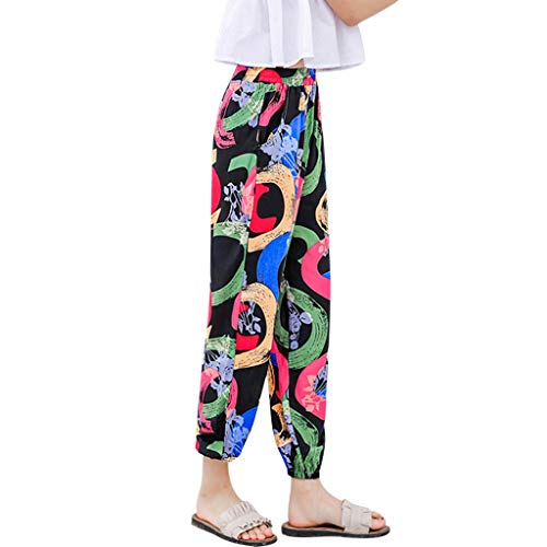Damen Pumphose Haremshose Blumenmuster Lange Hose WQIANGHZI Solid Elastische Taille Yoga Capris Boho Check Hosen Sommer Elegant Leicht Hohe Taillen Freizeithose Haremshose -