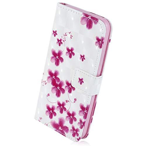 Herbests Kompatibel mit Samsung Galaxy S7 Handyhülle Luxus Sparkle Bling 3D Glitzer Muster Leder Hülle Brieftasche Leder Tasche Klapphülle Handytasche Flip Case Cover,Rosa Kirschblüte