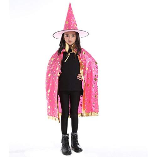 QinMM Kinder Erwachsene Kinder Halloween Baby Party Kostüm, Zauberer Hexe Mantel Cape Robe + Hut Set Cosplay Freie Größe ()