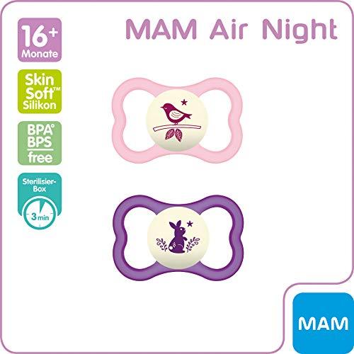 MAM Air Night Silikon Schnuller im 2er-Set, leuchtender Baby Schnuller, extra leichtes und luftiges Schilddesign mit Schnullerbox, 16+ Monate, rosa