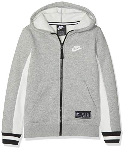 Nk Air (Nike Jungen B NK AIR Hoodie FZ Sweatshirt, Dk Grey Heather/Sail/Black, M)