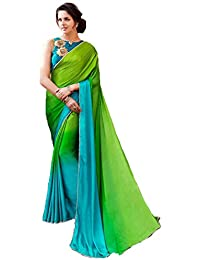 Finix Fashion Women's Green Color Crepe Silk Printed Embroidery Fancy Fashion Saree With Plain + Embroidered Blouse...