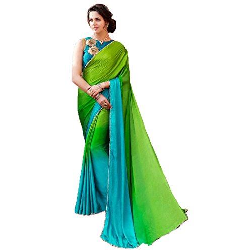 AUCREATIONS Women's Satin Saree With Blouse Piece (SHEESHA Catalogue_Green)