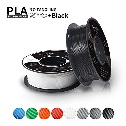 Filament PLA 1.75mm, Eryone PLA Filament 1.75mm, 3D Drucken Filament PLA for 3D Drucker, 2kg 2 Spools (1kg Schwarz+1kg Weiß) -