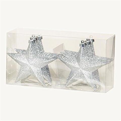 uwant Fashion Weihnachtsbaum Dekoration 6Pack 100mm Bruchsichere Glitzer Sterne, silber Ton