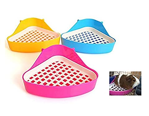 dingdangbell Small Animal Triangle Toilet Potty Trainer Pet Pee Corner Litter Tray Training for Hamster Chinchilla Guinea Pig Cat Bunny Ferret (Color