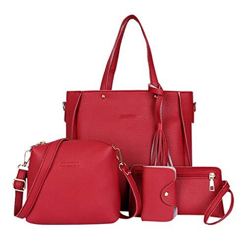 Hniunew Paket 4Pcs Damentasche LäSsige UmhäNgetasche Daypack Kunstleder Rucksack Kuriertaschen OrganizerfäCher Schultertasche Hochwertig Tasche Handtaschen Messenger-Bags Henkeltaschen Damen