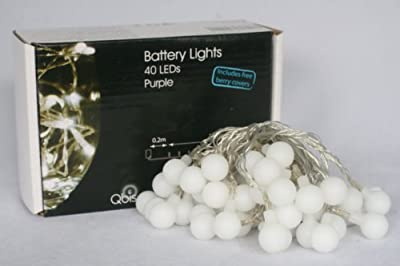 Qbis 40 LED Battery Lights with Berry Covers on Transparent Wire, White - cheap UK light shop.