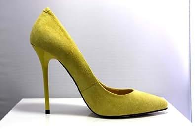 NATASCHA TIEU High Heel Pumps Court Stiletto Shoe YELLOW Suede Leather (UK 3.5)