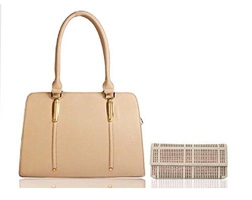 Whiteflower Women's Handbag With Wallet (Beige,Wf0112&Wf0066Beige)