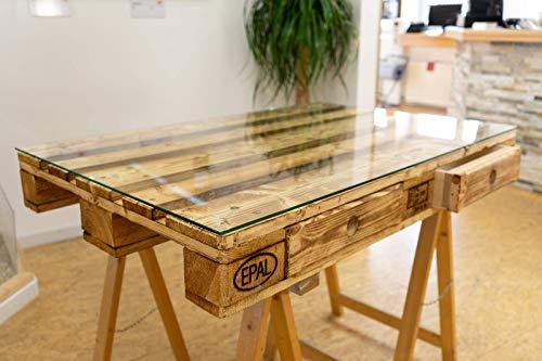 MySpiegel.de Glasplatte Glasscheibe für Euro Palettenmöbel 6mm 120x80 cm Polierte Kante Ecken gestoßen Durchsichtig...