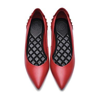 Confortevole ed elegante piatto scarpe donna Appartamenti Primavera Estate Autunno Inverno Altri peli di cavallo Vacchetta Office & Carriera Abbigliamento Sportivo tacco piatto Strass Rivetto nero ros Red
