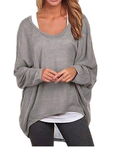 ZIOOER Damen Pulli Langarm T-Shirt Rundhals Ausschnitt Lose Bluse Hemd Pullover Oversize Sweatshirt Oberteil Tops Grau XL