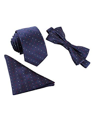 Herren Klassische 6 * 12cm Fliege & 6cm Schmale Krawatte & 22 * 22 cm Einstecktuch 3 in 1 Sets - Weiß Rot Gepunket Dunkelblau