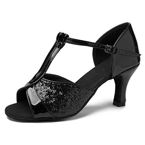 HIPPOSEUS Salle de bal Chaussures de danse/Standard Chuaussures de danse latines en satin pour Femmes & Filles,Maquette FR259