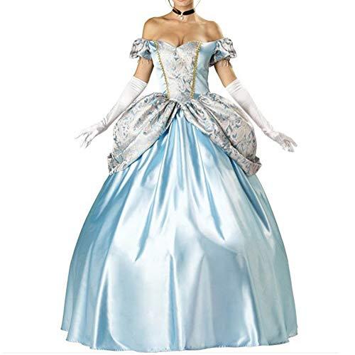 Erwachsene Kleid Für Kostüm - Ladies Halloween Kostüm Erwachsene Schneeweißes Kleid Cinderella Kostüm Prom Performance Abendkleid Kostüm,Blue,L