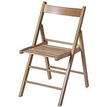 Eurosilla Bas - Silla plegable de madera para uso interior, 76 x 44 x 52 cm. Color marrón acabado natural y calidad superior