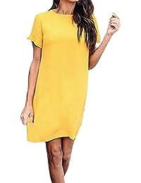 2b35ef9c4827d1 Kleid damen Kolylong® Frauen Elegant Kurzarm Kleid Einfarbig Casual  Rundhals Reißverschluss T-shirt Kleid Sommerkleid Minikleid…