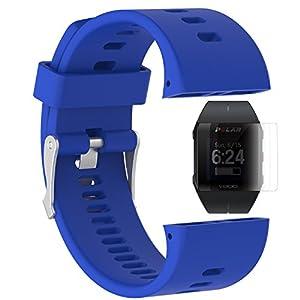 TUSITA Banda para Polar V800 con protector de pantalla, pulsera de silicona de repuesto WristBand accesorio para Polar Smart Watch (AZUL OSCURO)