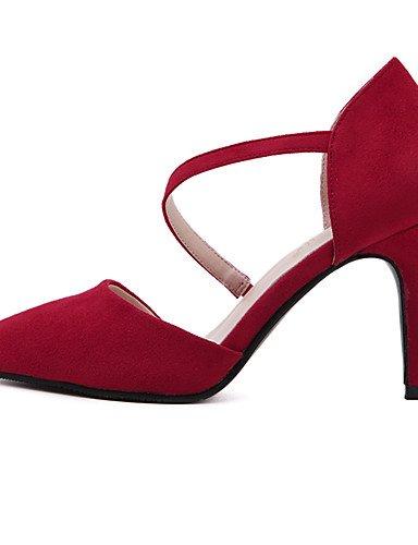 GS~LY Da donna-Tacchi-Ufficio e lavoro / Serata e festa / Formale / Casual-Tacchi / Modelli / A punta-A stiletto-Felpato-Nero / Rosso red-us6 / eu36 / uk4 / cn36