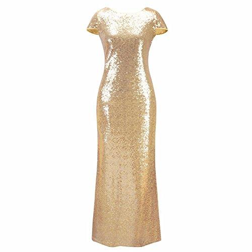 Abendkleider Am Abend Party Club elegante Pailletten Kleider Frauen Ballkleid New Gold Pailletten Rückenfreies seitlichen RV langen Maxi Vestidos Festival, ein, XL - 2
