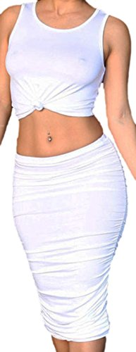 Vian Lundgaard - Damen Frauen Zweiteiliges Set Crop Top und langer Rock, hauteng, One Size, Weiß (Rock Ombre Set)