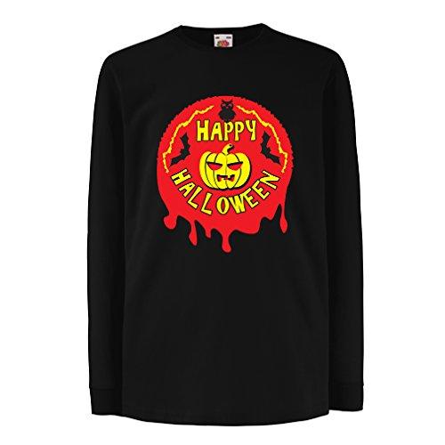 Kinder-T-Shirt mit Langen Ärmeln Happy Halloween! - Party Clothes - Pumpkins, Owls, Bats (3-4 Years Schwarz Mehrfarben)