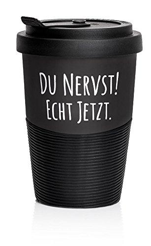 """Pechkeks Kaffee Thermobecher to go Porzellan mit Deckel, Spruch """"Du nervst! Echt jetzt."""", Größe 300ml, matt schwarz"""