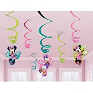 Minnie Mouse Party - Hanging Swirl Decorations x 6