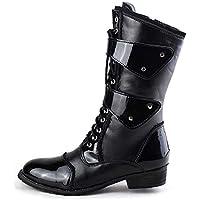 Wanlianer Bota de Hombre Martin Boots Botas de Moto Artificial Leather Vintage Botas Altas Botas de Hombre Impermeables (23.5cm-27.5cm) Invierno (Color : Negro, tamaño : 43 EU)