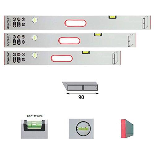 3er Set DEWEPRO® Alu Richtlatte - Setzlatte - Abziehlatte - Putzlatte mit Handgriff und 2 Libellen - Längen: 100cm (1,0m) + 150cm (1,5m) + 200cm (2,0m)