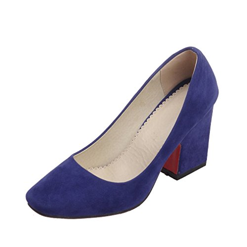 ENMAYER Femmes Nubuck Sexy Square Toe Bloc High Heel Confort Bureau de Travail Pompes Court Shoes Bleu