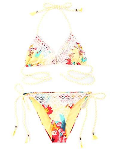 ... RELLECIGA Damen Bademode Triangel Bikini mit Spitze Volk Floral Floral  Gelb ... 4c3ee74a26