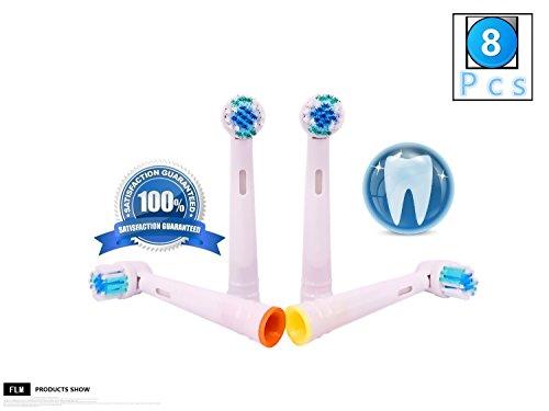 FLM Vitality Precision Clean EB17B - Cabezal de recambio para cepillo de dientes eléctrico compatibles con Braun Oral B, 8 unidades
