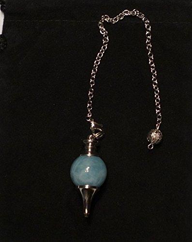 40 millimetri Aquamarine Gemstone Chakra Pendolo ciondolo palla