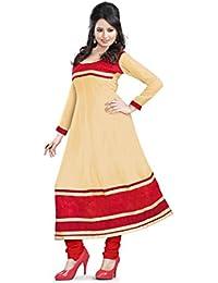JHEENU Women's Georgette Dress Material (LSROYAL04_Free Size_Chiku)