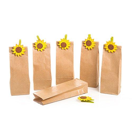 Set: 6 braune (7 x 4 x 20,5 cm) Papiertüten mit Boden + 6 Sonnenblumen Holzklammern Deko-Klammern lebensmittel-echt mit Pergamin-einlage für Süssigkeiten Pralinen Teetüten Plätzchen Gebäck Helloween (Sonnenblumen Süßigkeiten Dekorationen)