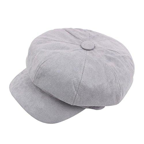 Achteckiger Hut Damen Winter Warmer Berets Hut Schirmmütze Barett Maler Mütze (1PC, Grau) (Maler Hüte)