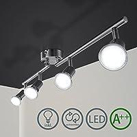 Barras de focos Gu10 4w Iluminación de luz plafon Foco direccional con 4 bombillas para bar-espejo-closer Clase de eficiencia energética A++ IP44