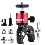Super Clamp, Homeet Clamp Soporte para Gopro Pinza Clamp con Rótula Agujeros Roscados 1/4' y 3/8' Soporte Cámara Deportiva para Monitor, LED Flash, Cámara, Micrófono, GPS (Rojo)