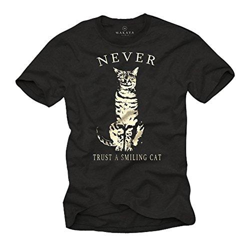 Camisetas con Gatos - Never Trust a Smiling Cat - Hombre Negra XL